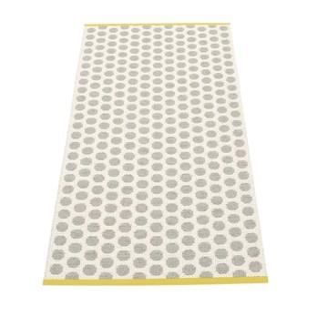 pappelina - Noa Teppich 70x150cm - grau/vanille/senfgelber Streifen/wendbar