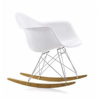 Vitra - Eames Plastic Armchair RAR Schaukelstuhl - weiß/Gestell chrom/Polypropylen/Kufe Ahorn