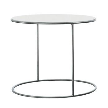 Cappellini - Cannot Beistelltisch Ø55cm - weiß/glänzend/Platte aus lackierter Holzmischung/Gestell edelstahl