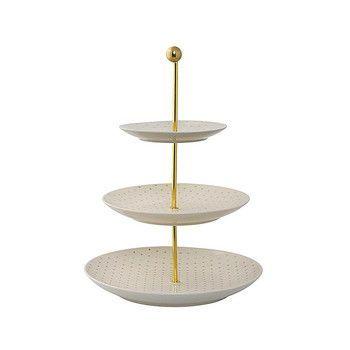 - Fanny Etagere Tablett 3-stufig - weiß/Motiv goldene Sterne/Gestell gold/H 40cm/Ø 25cm