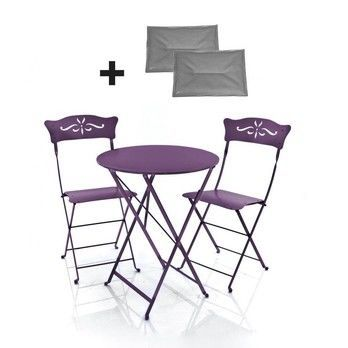 Fermob - 2 Bagatelle Chairs + 1 Bistro Table - aubergine/lacquered/Table round ø60cm/incl. 2 seat cushions gray