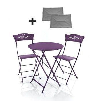 Fermob - 2 Bagatelle Stühle + 1 Bistro Tisch - aubergine/lackiert/Tisch rund ø60cm/inkl. 2 Sitzkissen grau