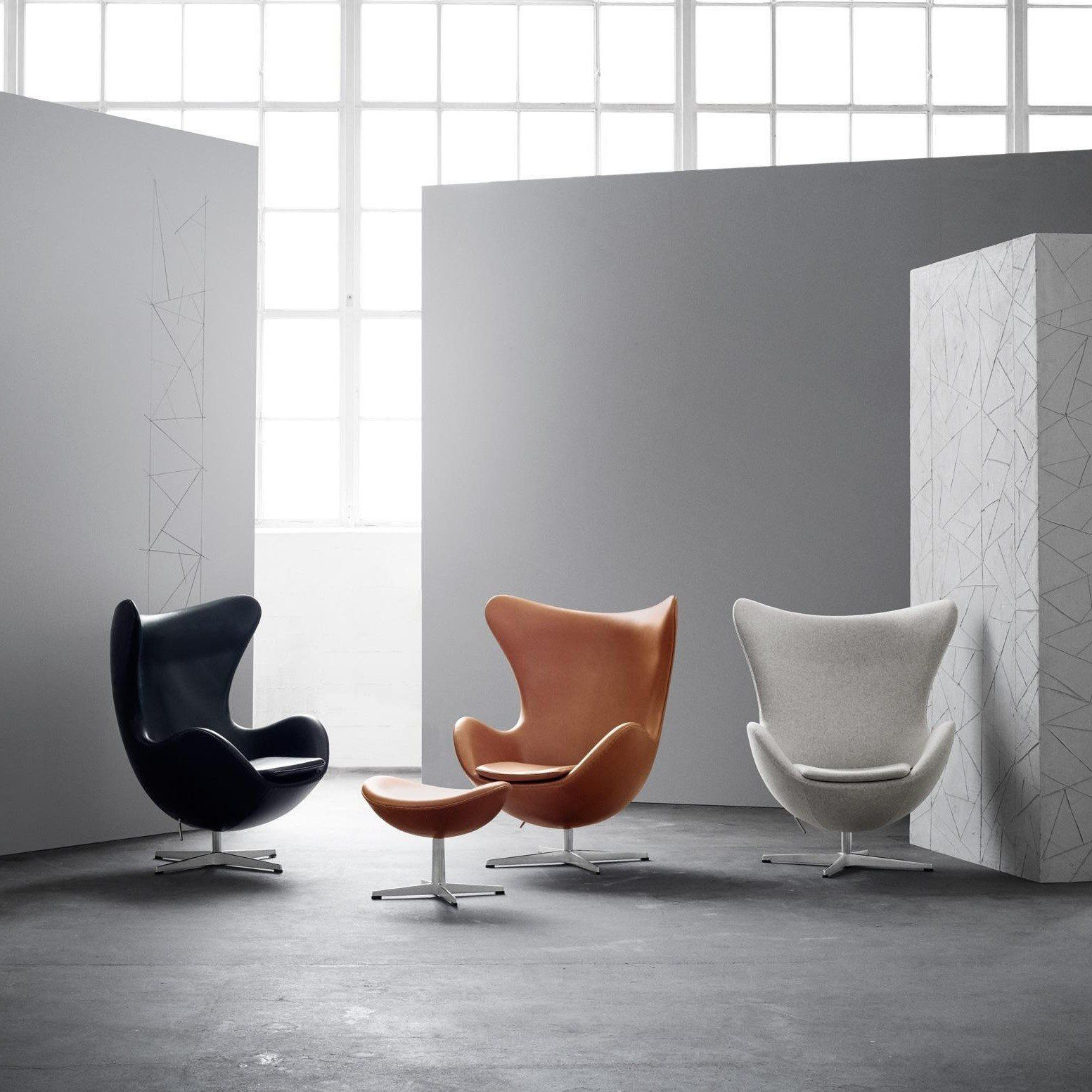 Uberlegen ... Fritz Hansen   Aktion Egg Chair/Das Ei Sessel + Hocker Leder ...