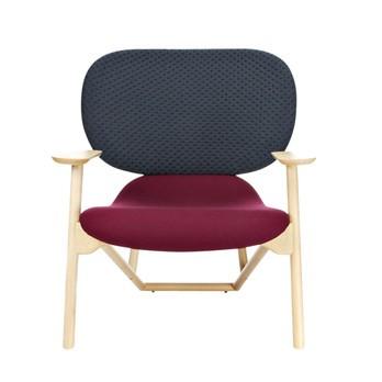 Moroso - Klara Sessel - Rücken gepolstert graphit grau/Stoff Kvadrat Divina 671/Sitzfläche gepolstert violett