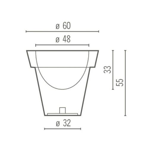 Serralunga - Vas Three Leuchte / Blumentopf S - Strichzeichnung