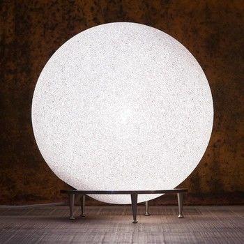 Lumen Center Italia - Ice Globe Giant 02 Boden-/Tischleuchte - weiß/satin-nickel/matt/H81cm/Ø78cm/mit Dimmer
