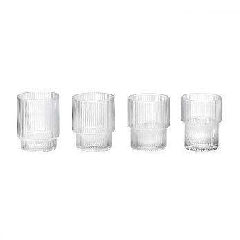 ferm LIVING - Ripple Gläser Set 4tlg. - transparent/mundgeblasenes Glas/H 8.8cm/Ø 7cm