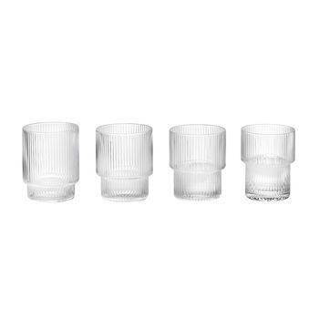 - Ripple Gläser Set 4tlg. - transparent/mundgeblasenes Glas/H 8.8cm/Ø 7cm
