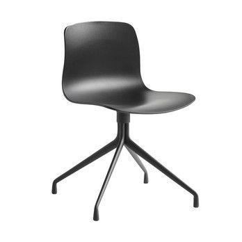 - About a Chair 10 Drehstuhl mit Sternfuß - schwarz/Gestell aluminium pulverbeschichtet schwarz/mit Kunststoffgleitern