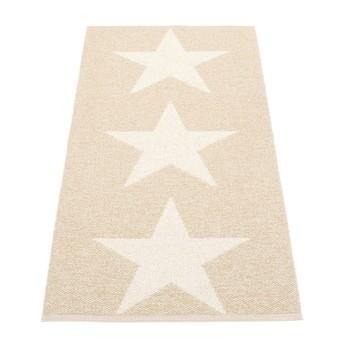 pappelina - Viggo Star Teppich 70x150cm - champagne metallic/vanille