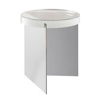 pulpo - Alwa One Beistelltisch H 44cm - transparent/Gestell chrom/H 44cm / Ø 38cm