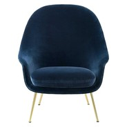 Gubi - Bat Lounge Chair hoch Gestell Messing