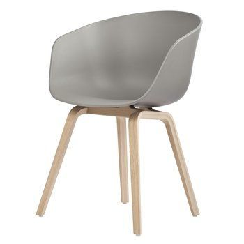 HAY - About a Chair 22 Armchair Colour - grey/frame soaked oak/with plastic gliders