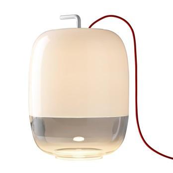Prandina - Gong T3 Tischleuchte - weiß/Ø30cm/H 42.4cm/Kabel rot