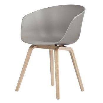 HAY - About a Chair 22 Armlehnstuhl Colour - grau/Gestell Eiche geseift/mit Kunststoffgleitern