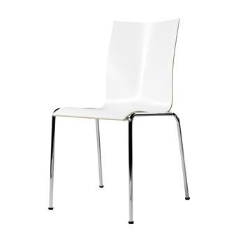 Engelbrechts - Chairik 104 Stuhl - weiß/Melamin/Gestell: 16mm Rohr blankverchromt/50x55x82cm