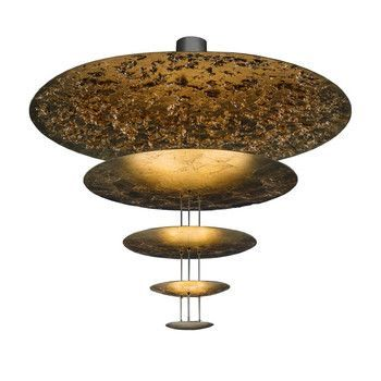 Catellani & Smith - Macchina Della Luce D LED Pendelleuchte - gold/Messing Stäbe/2600K-2800K/6300lm/CRI80/Scheiben Ø120/80/50/30/18cm/inkl. Dimmer