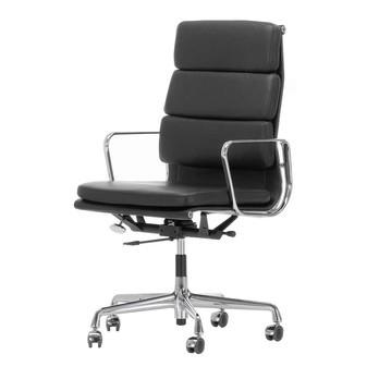 Vitra - EA 219 Soft Pad Eames Alu Chair Bürostuhl - Leder nero schwarz 66/Gestell aluminium poliert/mit weichen Rollen