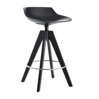 MDF Italia - Flow Barhocker Gestell Eiche 65cm - schwarz/Gestell Eiche dunkelbraun/matt/Sitzhöhe 65 cm