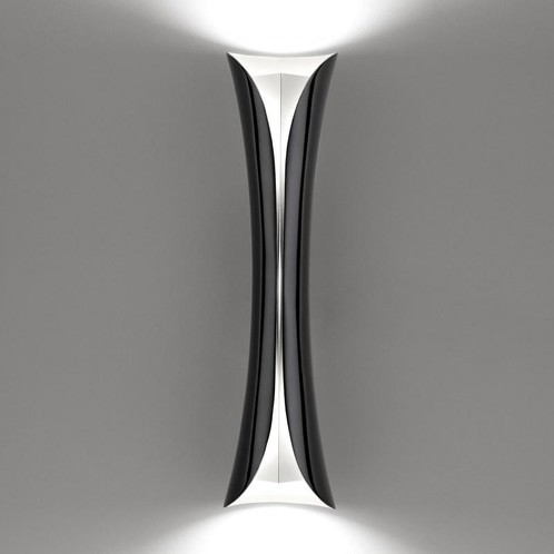 Artemide - Cadmo LED Parete Wandleuchte - schwarz/weiß/Stahl/lackiert/3000K/LxBxH 13x13x76cm