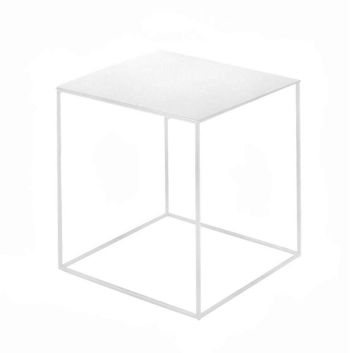 Zeus   Slim Irony Side Table   White/semi Matte Lacquered/frame White/