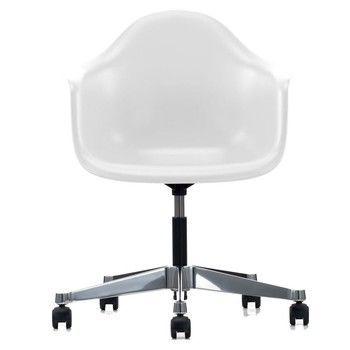 Vitra - Eames Plastic Armchair PACC Bürostuhl - weiß/Polypropylen/Sternfußgestell poliert/mit weich gebremsten Rollen