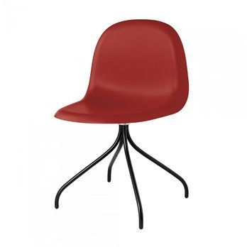 Gubi - Gubi 3D Dining Chair Drehstuhl Schwarz - shy cherry rot/Sitzfläche HiRek Kunststoff/BxHxT 52x82x53,5cm/Gestell schwarz
