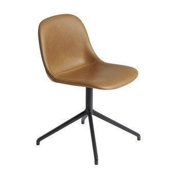 Muuto - Fiber Side Chair Drehstuhl gepolstert - cognac/Sitzpolster Leder cognac/BxHxT 47,5x77x53cm/Gestell Aluminium