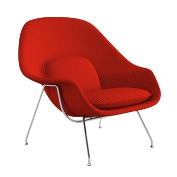 Knoll International - Womb Chair Relax Sessel Gestell chrom - rot/Stoff Cato Fire Red 19/Gestell Chrom