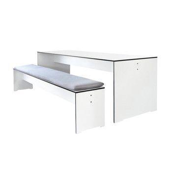 Conmoto - Riva Set 220 Tisch + 1 Bank - weiß/ohne Auflage/Laminat/1x Bank 216x35x44cm/1x Tisch 220x70x72cm