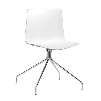 Arper - Catifa 46 0257 Stuhl einfarbig mit Sternfuß - weiß/Außenschale glänzend/innen matt/Gestell verchromt