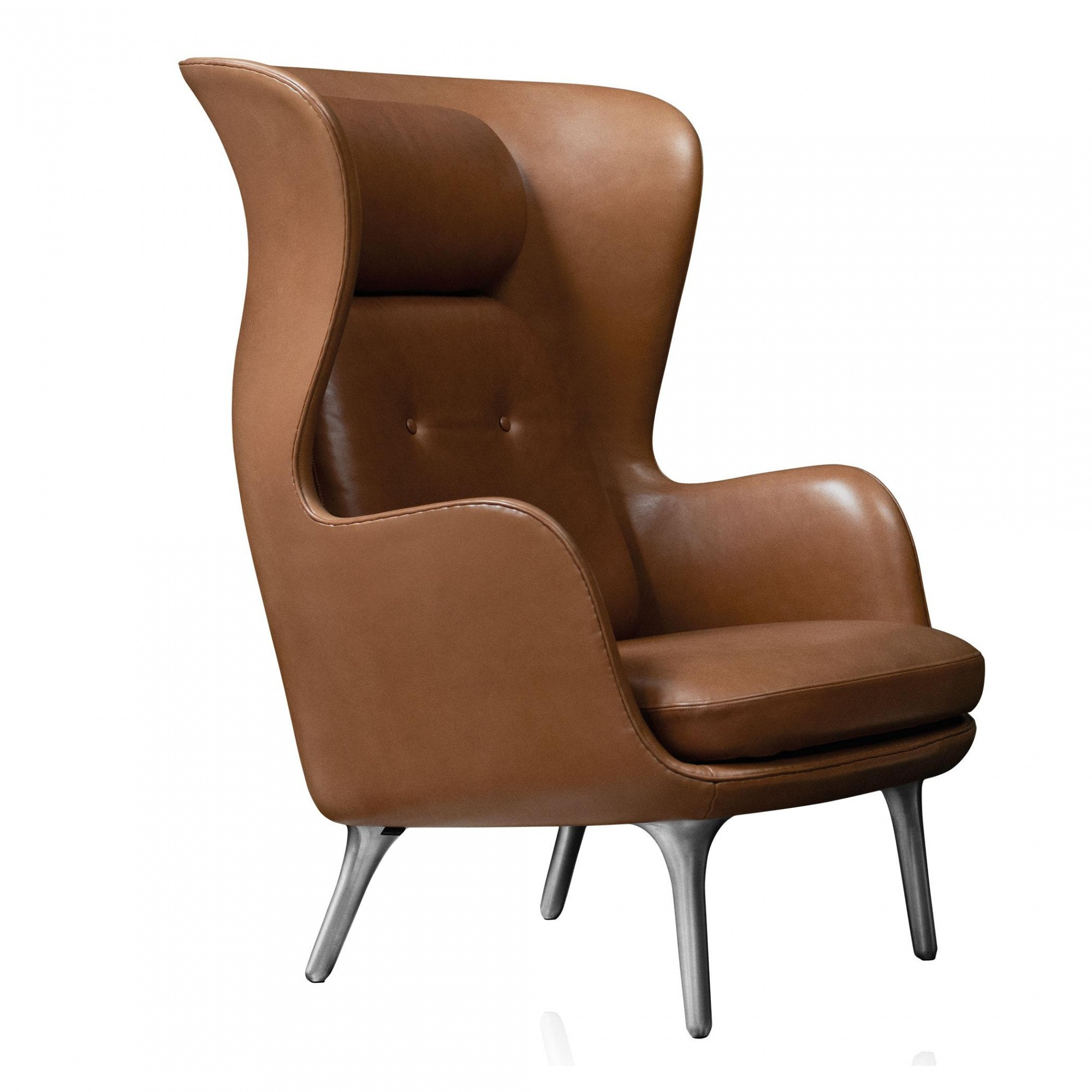 Fritz Hansen Ro Jh1 Wingback Chair Leather Aluminum Feet