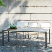 Jan Kurtz - Lux Base Gartentisch - weiß/Gestell Edelstahl/3 Tischplatten aus Keramik/LxBxH 209x90x72cm