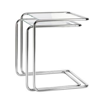 Thonet - B 97 Beistelltisch Set - transparent/ Gestell chrom/Glas optiwhite Diamantschliff/46x47x52cm/53x57x47cm