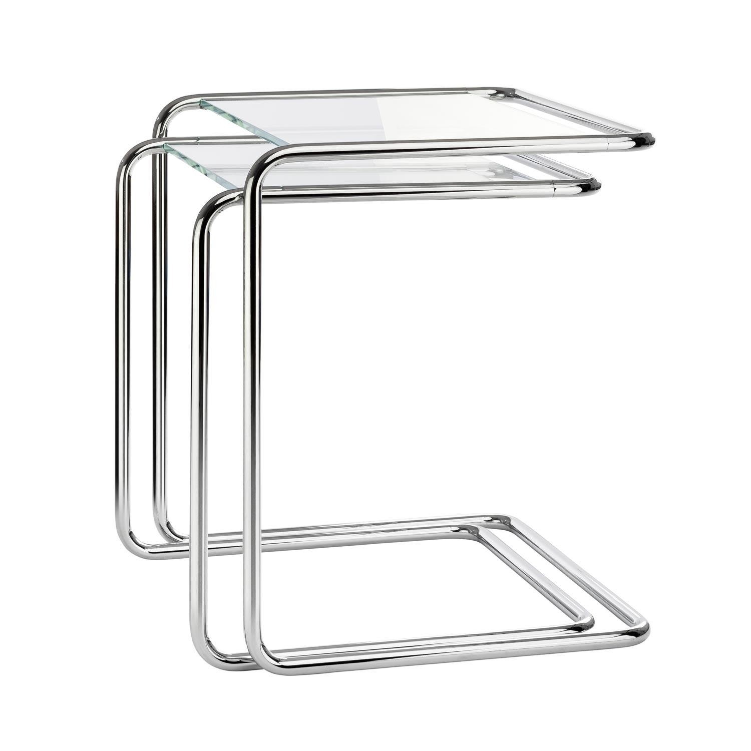 Thonet   B 97 Side Table Set   Transparent/ Frame Chrome/glass Optiwhite  Diamond