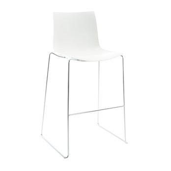 Arper - Catifa 46 0474 Barhocker niedrig einfarbig Chrom - weiß/Außenschale glänzend/innen matt/Gestell verchromt/Sitzhöhe 64cm