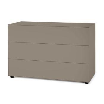 Piure - Nex Pur Box Schubkastenbox 120x77.5x48cm - nougat/MDF matt lackiert/mit Gleitfüße/3 Schubladen