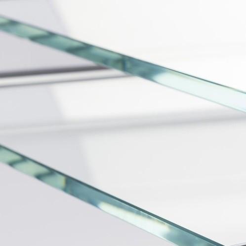 Thonet - B 97 Beistelltisch Set - transparent/ Gestell schwarz/Glas optiwhite Diamantschliff/46x47x52cm/53x57x47cm