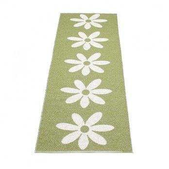 pappelina - Lilo Teppich 70x250cm - oliven-grün/vanille