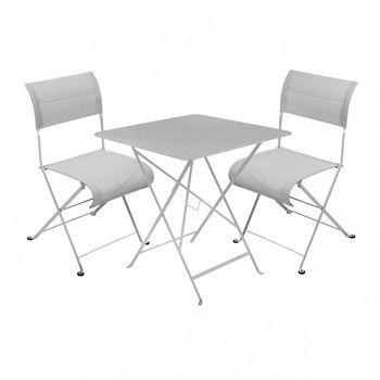 Fermob - Dune Bistro Gartenset - metallgrau/2 Stühle + 1 Tisch/Tisch 71 x71cm
