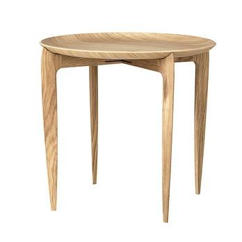 Fritz Hansen - Fritz Hansen Tray Table Klapptisch - eiche/H 42cm, Ø 45cm/Tablett abnehmbar/Gestell faltbar