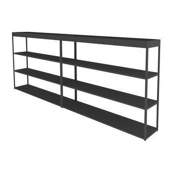 HAY - New Order Sideboard mit Tray 300x115cm - charcoal dunkelgrau/lackiert/mit 2 Top Trays