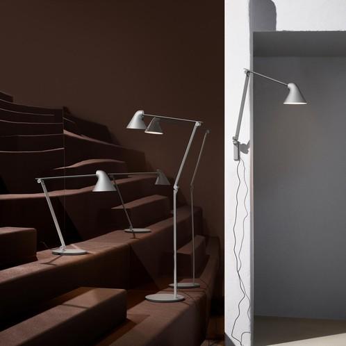 Louis Poulsen - NJP LED Wandleuchte - hellgrau/pulverbeschichtet/2700K/529lm/langer Arm/LxBxH 48x14.9x60.5cm