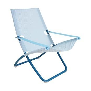 emu - Snooze Liegestuhl - hellblau/blau/Sitzfläche EMU-Tex hellblau/LxBxH 91x75x105cm/Gestell Stahl blau/klappbar