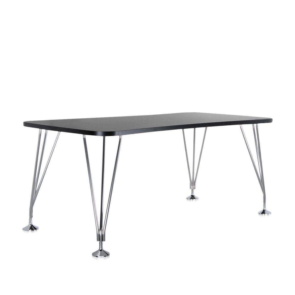 max table xcm  kartell  ambientedirectcom - kartell  max tisch xcm  schiefergraugestell verchromter stahlmitfesten standfüßen
