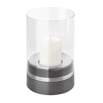 Blomus - Piedra Windlicht  - schwarz/Edelstahl/klares Glas/H: 23,5 cm/inkl. Kerze