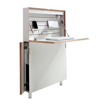 müller möbelwerkstätten - Flatmate Wandsekretär - weiß mit Birkenkante