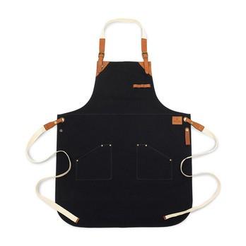 Röshults - Röshults BBQ Apron Canvas Küchenschürze - marine-schwarz/cognac/2 Taschen