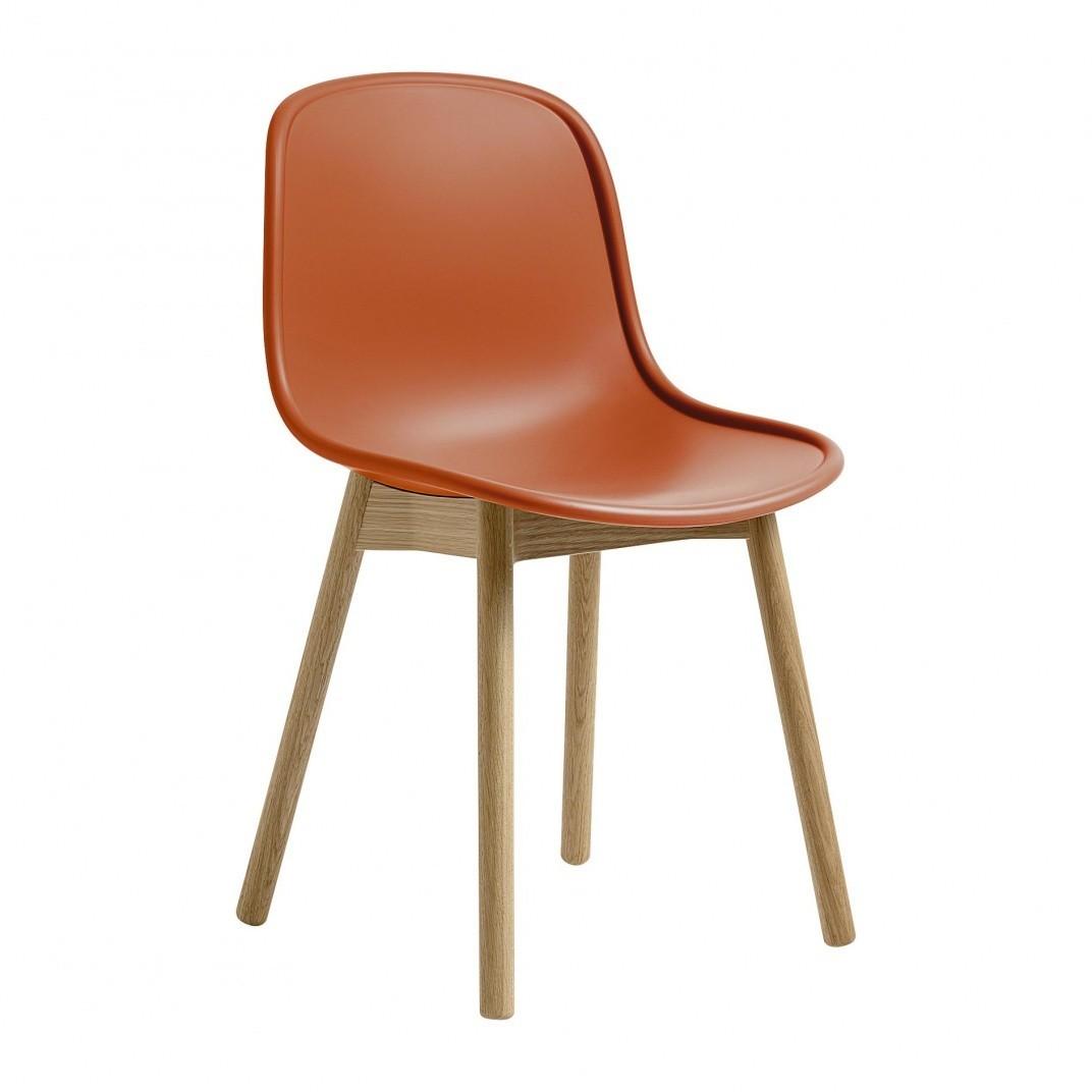 Hay neu 13 stuhl orange matt gestell massive eiche matt lackiert