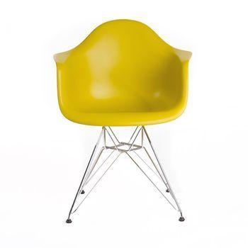 Vitra - Eames Plastic Armchair DAR Armlehnstuhl - senf gelb/Polypropylen/Eiffelturmgestell chrom